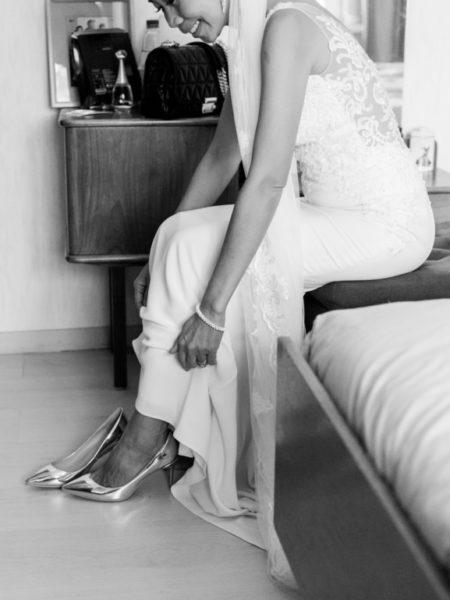 Bruiloftsfoto jurk zwart wit