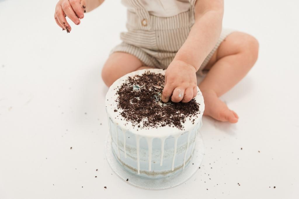 Cake smash fotoshoot close-up taart